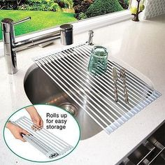 drying rack for industrial sink | Roll Up Over The Sink Sturdy Dish Drying Rack | eBay $29.98