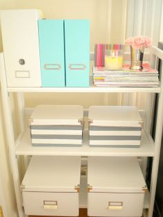 - love this organized work space shelving .