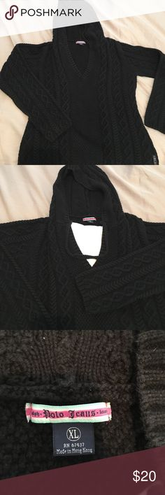Ralph Lauren Polo Jeans Hooded Sweater ⚫️Black Knit RL Polo Jeans hooded sweater thick and comfy no visible signs of wear EUC Polo by Ralph Lauren Sweaters V-Necks