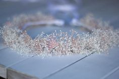 Dried White and Blush Baby's Breath Floral Crown, Floral Wreath, Flower Girl Crown,