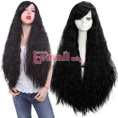 Lolita Harajuku Rhapsody Black 90cm Long Wave Curly Hair Cosplay Wigs+Wig Cap #Lemail #FullWig #Cosplay
