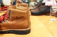 danner leather hiking boots with classic red laces