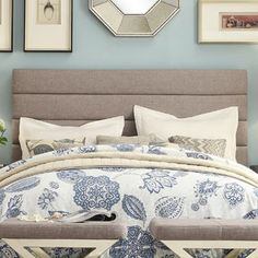 Corbett Horizontal Tufted Gray Linen Upholstered King-size Headboard by TRIBECCA HOME | Overstock.com Shopping - The Best Deals on Headboards