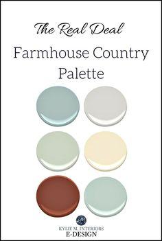 More colourful farmhouse paint colour palette for country style. Kylie M E-design