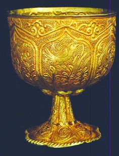 750 Tang Dynasty Rolled Hammered Gold Cup, Xian PRC. Only 1 other smaller cup known owned by Rockefeller but location unknown. Contemporaneous writings about such items exist. Detroit Institute of Arts X-ray fluorescent spectrographic analysis shows over 200 spots are 97% to 98% pure gold the rest being silver. More importantly, there is no silicone detected which would indicate a modern technique and, therefore a fake. Each panel depicts a scene of nature such as birds, lotus leaves 735,500…