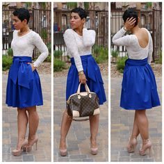 DIY Regal Skirt + Lace Bodysuit - Mimi G Style:  Do with a circle skirt?  Keep the waistband.  Must find a lace top with scoopneck @ back.  NO Louis Vuitton...