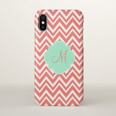 Monogram Coral and White Chevron with Mint Green iPhone X Case - monogram gifts unique custom diy personalize