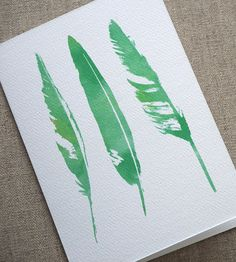 Feathers Greeting Card, via Etsy Try on silk?