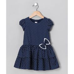 ROSENAU BECK Navy Polka Dot Dress - Infant & Toddler | Daily deals for moms, babies and kids found on Polyvore