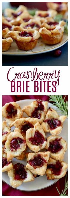 These Cranberry Brie Bites are an easy appetizer to make, festive, and perfect for your holiday party. With only three ingredients keep the focus more on friends and family instead of the food! All you need is a store bought pastry, brie and cranberry sauce (add in some rosemary for garnish) and your guests will be popping these delightful bites of deliciousness into their mouths and begging you for the recipe!