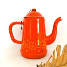 Orange retro tea pot