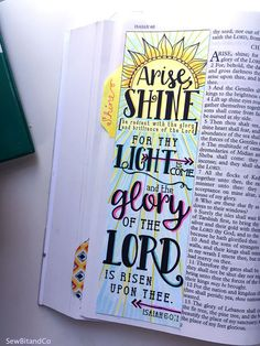 Bible Journaling Bible Verse Art Bible Verse Print great for faith journals Art Journal Arise, Shine, Glory Isaiah 60:1