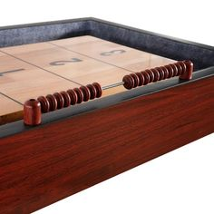 Shop Challenger 9-Ft Shuffleboard Table - Dark Cherry Finish - Overstock - 6217673 Diy Table Saw, A Table, Shuffleboard Games, Mdf Cabinets, Cherry Finish, Table Sizes, Table Dimensions, Finger Joint, Built In Storage