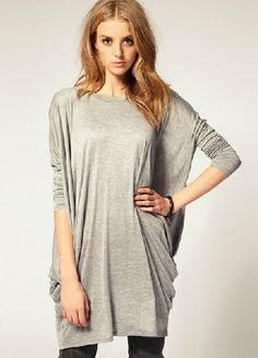 Grey Batwing Long Sleeve Loose T-Shirt - Fashion Clothing, Latest Street Fashion At Abaday.com