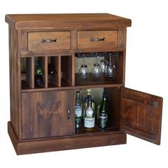 "Keep all of your wine essentials stored in style with the 2 Day Designs Wine Bar on Casters. Standing 41"" tall and 36"" wide, this handy mini bar offers a compact, but spacious interior—perfect for keeping your glassware, bottle openers, and other accessories stowed away in one place."