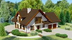 Wizualizacja Dom przy Cyprysowej 15 CE Village House Design, Bungalow House Design, Village Houses, Modern House Design, Beautiful House Images, Beautiful Small Homes, House In The Woods, My House, Home Exterior Makeover