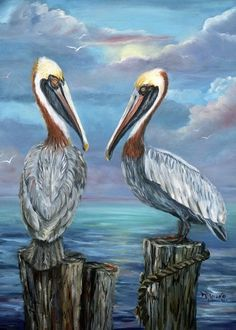 Pelican Art, Louisiana Art, Sea Art, Coastal Art, Watercolor Bird, Artist Gallery, Illustrations, Fauna, Wildlife Art