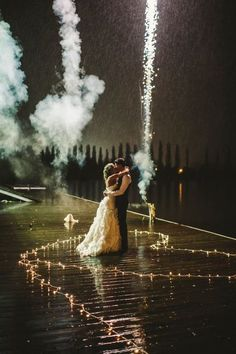 Wedding. Wedding. Fireworks fireworks. Dockside. Romance. (c) Dallas Kolotylo Photography