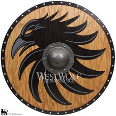 Viking Raven Shield - Made of Solid Oak with a Forged Iron Boss - Norse Armor / Weaponry