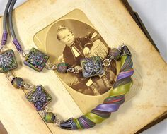 Polymer Clay Necklace Silver and Purple with a Twist