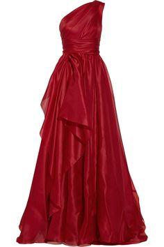 Marchesa One-shoulder draped silk-gazar gown NET-A-PORTER.COM