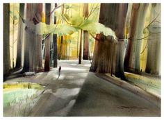 Watercolor by Tony Couch. #watercolor #watercolour #aquarelle #акварель #живопись #искусство #деревья #свет #лучи #пейзаж #