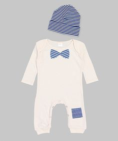 Look what I found on #zulily! Blue & Ivory Bow Tie Patch Playsuit & Beanie - Infant by Ruff Truff #zulilyfinds