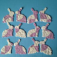 12 Rabbit Bunny die cut outs vintage cutter quilt applique card Easter Purple Wh