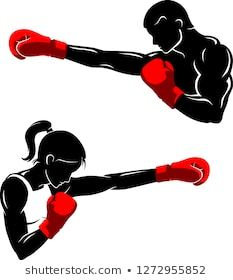 Man and Woman Boxing Silhouette Boxing Girl, Boxing Boxing, Sports Drawings, Art Drawings, Muay Thai, Painted Boxes, Hand Painted, Boxe Fight, Kickboxing