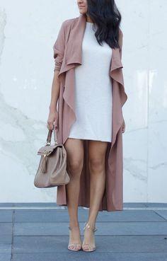 Pink Plain Belt Draped Turndown Collar Long Sleeve Casual Trench Coat