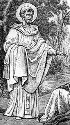 Saint Frumentius (Ge'ez ፍሬምናጦስ frēmnāṭōs) (died ca. 383) was the 1st Bishop of Aksum (or Axum). Credited with bringing Christianity to the Aksumite Kingdom (Modern day Ethiopia). Bishop, Confessor & Apostle to Ethiopia. Coptic Orthodox Church celebrates the feast of Frumentius on Dec 18, Eastern Orthodox on Nov 30 & Roman Catholic on Oct 27. St. Frumentius is venerated on Aug 1 in the Ethiopian Orthodox Tewahedo Church. He is credited with the 1st Ge'ez translation of the New Testament.  YBH