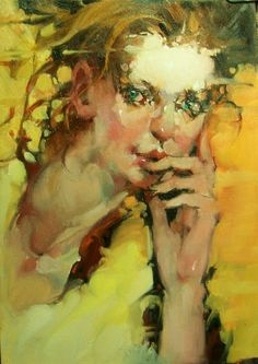 """""""My Green Eyed Girl"""" Impressionistic oil Figures/Portraits., painting by artist Kim Roberti"""