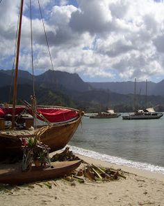 Canoes I by Dennis Begnoche - Photo taken of canoes moored at Hanalei Bay. Click on the image to enlarge.