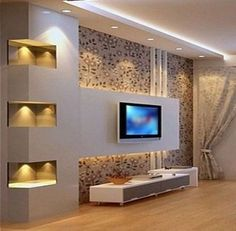 Simple and Creative Tips and Tricks: False Ceiling Design For Restaurant false ceiling living room french doors.False Ceiling Design For Bedroom. Tv Wall Design, Ceiling Design, Ceiling Ideas, Ceiling Lights, Modern Tv Wall Units, Wall Units For Tv, Modern Tv Room, Plafond Design, False Ceiling Living Room