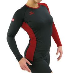 Black/Scarlet Kaepa Women's USA Tight Fit Long Sleeve Volleyball Jersey at Volleyball.Com