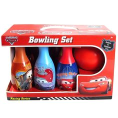 "Bowling set includes 1 plastic ball and 6 plastic pins in different colors Each pin has a different Cars character image Each pin is 7.5"" tall Great for indoor and outdoor play Age grade 2+ years"