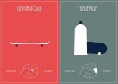 * Paris Clichés Posters – Une série de 20 illustrations signée par Simon Sek du collectif Les Animals / @Fubiz *