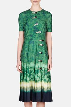 Pleated chiffon dress, Altuzarra. Shades of green, yellow, and blue batik print (yay). Ceramic green polyester. (Yet a cool $2.3K.)