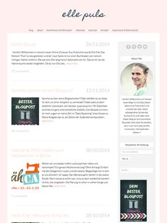 Love the pink! She's customized her blog design using an Angie Makes WordPress theme. Simple, modern, and fresh design. I love it!