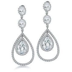 Bling Jewelry Fancy Clear CZ Triple Teardrop Chandelier Earrings featuring polyvore fashion jewelry earrings pant clear tear drop earrings teardrop earrings triple crown dangle earrings bridal chandelier earrings