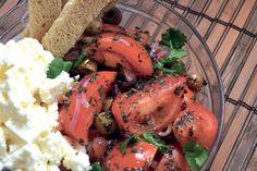 Tomato & Feta Salad with Olive Oil Dressing Olive Oil Dressing, Feta Salad, Plum Tomatoes, Greek Salad, Salads, Paleo, Vegetarian, Organic, Good Things