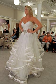 Season 14 Featured Dress: Pnina Tornai. Sweetheart neckline, rushing and horsehair layers on the bottom. $8,700.