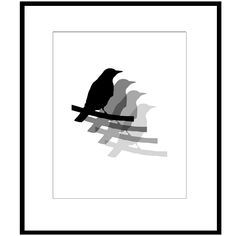 Bird Quad Silhouette - 8x10 Print - Black, White and Gray - Bathroom, Kitchen, Nursery, Bedroom Decor. $20.00, via Etsy.