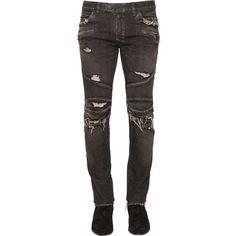 Balmain Men 17cm 551 Biker Cotton Denim Jeans ($1,060) ❤ liked on Polyvore featuring men's fashion, men's clothing, men's jeans, black, mens torn jeans, balmain men's jeans, mens jeans, mens distressed jeans and mens destroyed jeans