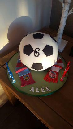 Football cake. Burnley and liverpool scarfs