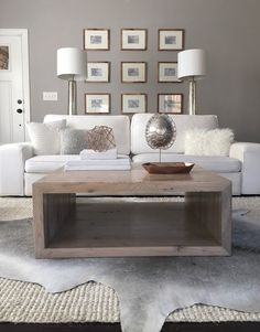 """Salvaged Oak Square Coffee Table by RAKAMOD on Etsy. Option for """"Sun Bleached Grey"""" finish. The sellers can make the coffee table any custom size I want."""