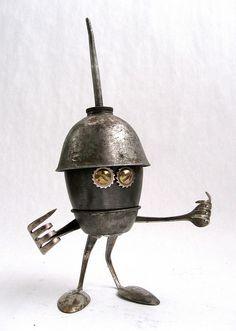 Plew 454 - Found Object Robot Assemblage Sculpture