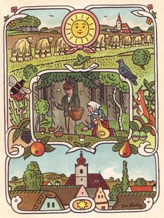 The Seasons Come, The Seasons Go, by Josef Lada. Children's Book Illustration, Illustrations, Children's Literature, Album, Vintage Art, Childrens Books, Folk Art, Art Decor, Fairy Tales