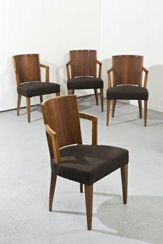 Pierre CHAREAU (1883-1950)  Suite de quatre fauteuils modèle «MF 276» en placage de palissandre de Rio