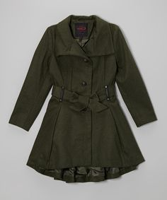 Take a look at this Olive Belted Peacoat - Girls on zulily today!